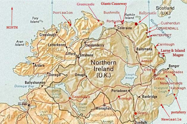 Map Of North West Ireland.Towns On Maps Northern Ireland